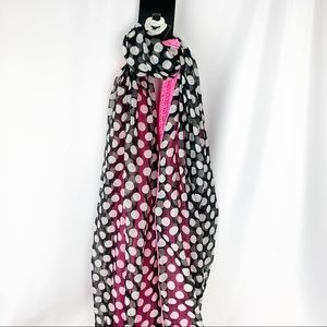 Accessories - Neon Pink Crochet Black Polka Dot Infinity Scarf
